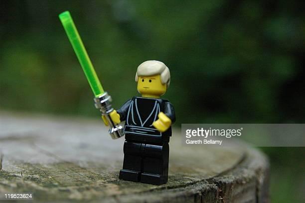 Lego Minifigure Luke Skywalker from Return of the Jedi Shot outdoors natural lighting