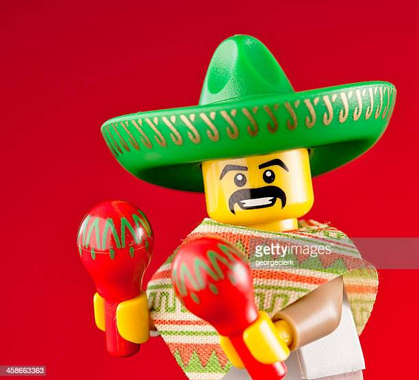 lego minifigures: mexican maraca man - mexican culture stock photos and pictures