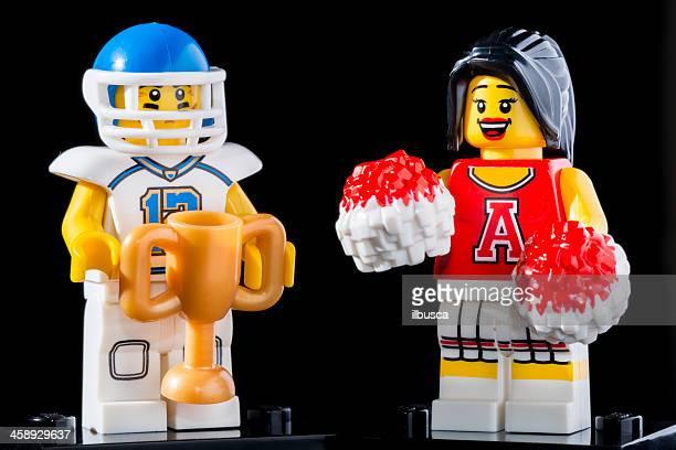 lego minifigures series 8 figurine: football player with cheerleader - college football cheerleaders bildbanksfoton och bilder