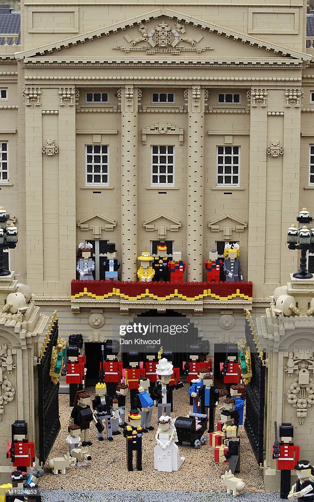 A Lego model depicting an imaginary scene from the forthcoming Royal Wedding on March 30, 2011 in Windsor, England. The scene in the front of Buckingham Palace includes models of the Wedded couple, HRH Prince William and wife to be Kate Middleton. Lego models of distinguished guests including the Beckham's, Sir Elton John, and Sir Paul McCartney complete the scene. Legoland is celebrating it's 15th birthday this year and re-opens to the public on April 1, 2011.