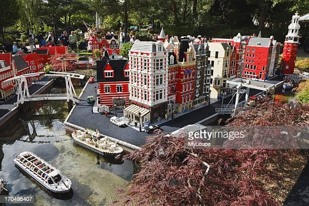 Lego model of Amsterdam and the 'de Magere Brug' Legoland Billund Jutland Denmark
