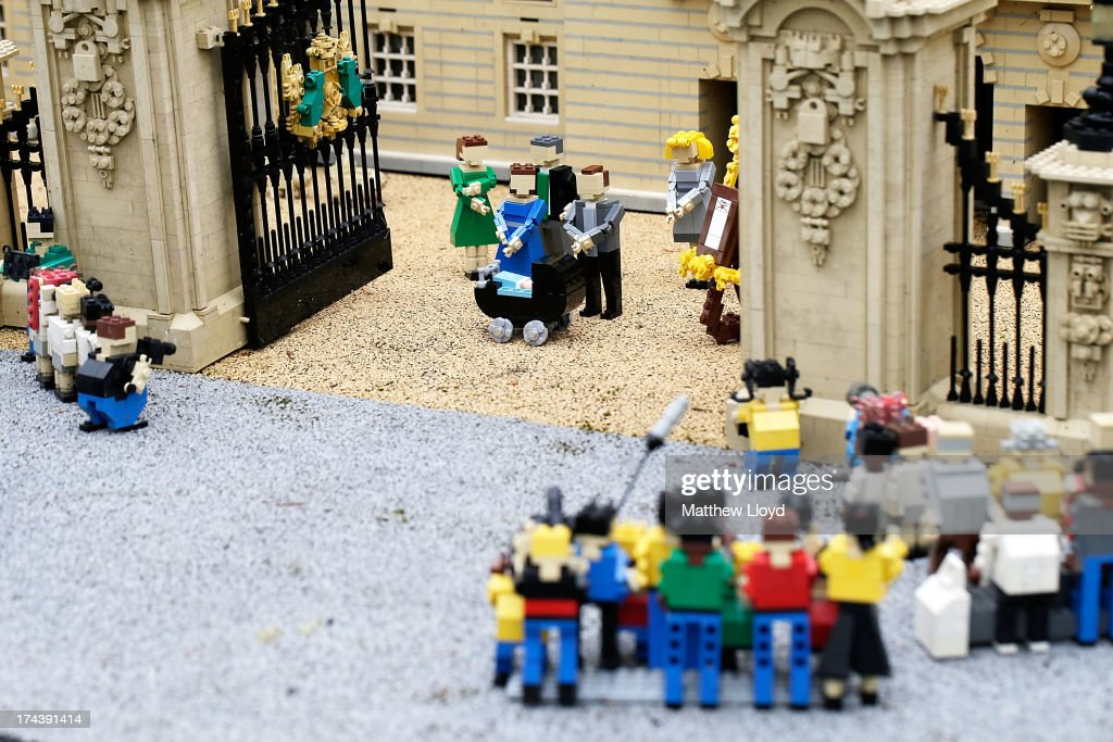 Lego models of photographers, well-wishers and members of the Royal family outside a model of Buckingham Palace, part of a new attraction created to commemorate the birth of HRH Prince George of Cambridge at the Legoland resort on July 25, 2013 in Windsor, England. Model maker Katrina James constructed the baby and pram model out of 55 bricks, with the palace made out of 36,000 bricks. Catherine, Duchess of Cambridge gave birth to HRH Prince George of Cambridge at 16.24 BST on Monday July 22, 2013 with Prince William, Duke of Cambridge at her side.