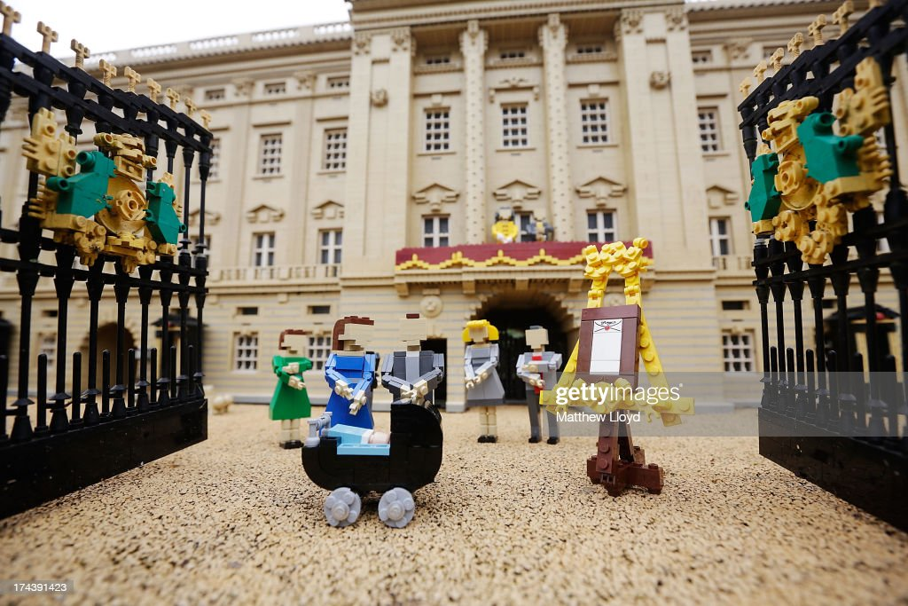 Lego models of the Duke and Duchess of Cambridge with their newborn son HRH Prince George of Cambridge outside a model of Buckingham Palace, part of a new attraction created to commemorate the birth of HRH Prince George of Cambridge at the Legoland resort on July 25, 2013 in Windsor, England. Model maker Katrina James constructed the baby and pram model out of 55 bricks, with the palace made out of 36,000 bricks. Catherine, Duchess of Cambridge gave birth to HRH Prince George of Cambridge at 16.24 BST on Monday July 22, 2013 with Prince William, Duke of Cambridge at her side.