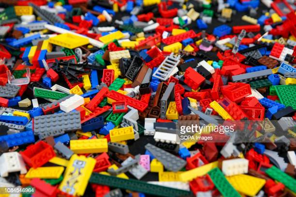 Lego pieces are seen at the annual London Model Engineering Exhibition at Alexandra Palace north London Over 50 clubs and societies are exhibiting...