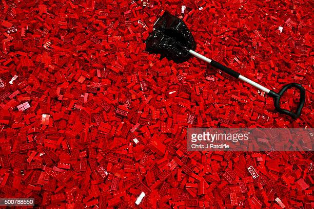 Lego play pit waits full of bricks for children to play in at ExCel on December 10 2015 in London England Brick 2015 is an exhibition dedicated to...