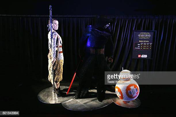 """Lego Rey, Kylo Ren and BB-8 models seen at the Premiere of Walt Disney Pictures and Lucasfilm's """"Star Wars: The Force Awakens"""" at on December 14,..."""