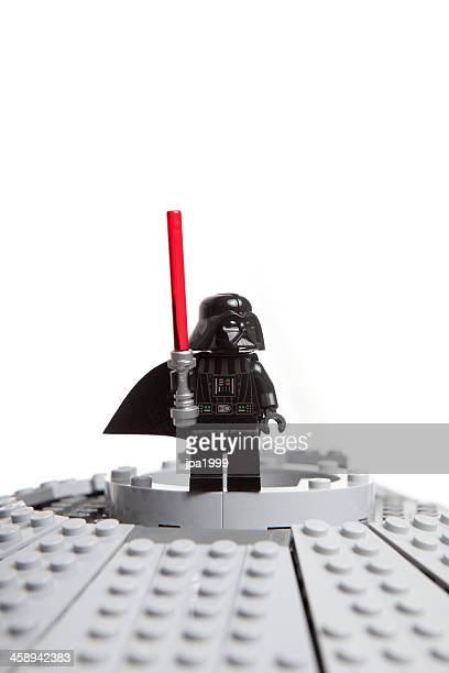 lego star wars toy character: darth vader - lightsaber stock pictures, royalty-free photos & images