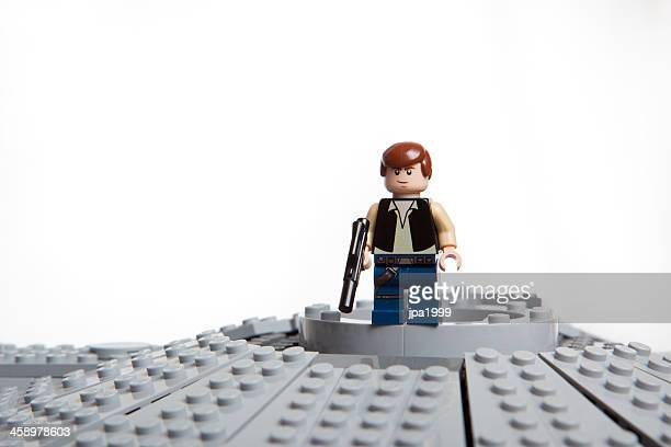 lego star wars toy character: han solo - star wars stock pictures, royalty-free photos & images