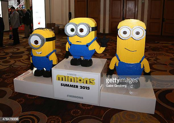 Lego statues of minion characters from the 'Minions' movie franchise are displayed during the Licensing Expo 2015 at the Mandalay Bay Convention...