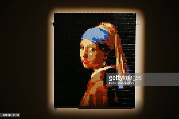 Lego version of the painting Girl with a Pearl Earring is shown at the Art of Brick Exhibition on September 24 2014 in London England Eighty...