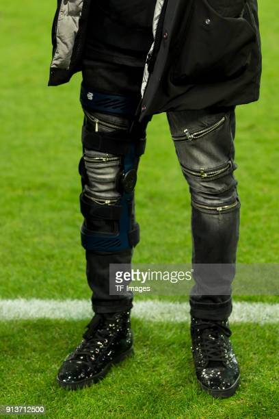 Legs and shoes from Weston McKennie of Schalke are seen during the Bundesliga match between FC Schalke 04 and SV Werder Bremen at VeltinsArena on...