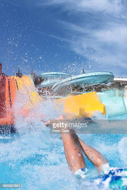Legs entering water at bottom of slide