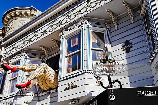 Legs in fishnet stocking in window of Haight-Ashbury store