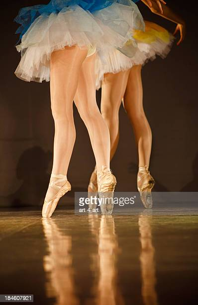 Legs of ballerinas - balet background with copy space