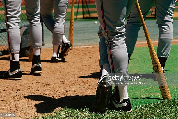 Legs of baseball players
