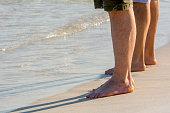 legs bathers seaside blur blue ocean