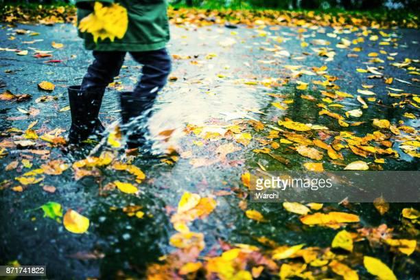 beine des kindes in gummistiefeln laufen in pfützen mit bunten herbst blätter - november stock-fotos und bilder