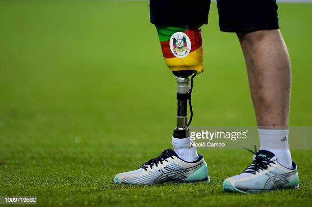 Legs of Jakson Follmann are pictured prior to the friendly football match between Torino FC and Chapecoense Torino FC won 20 over Chapecoense