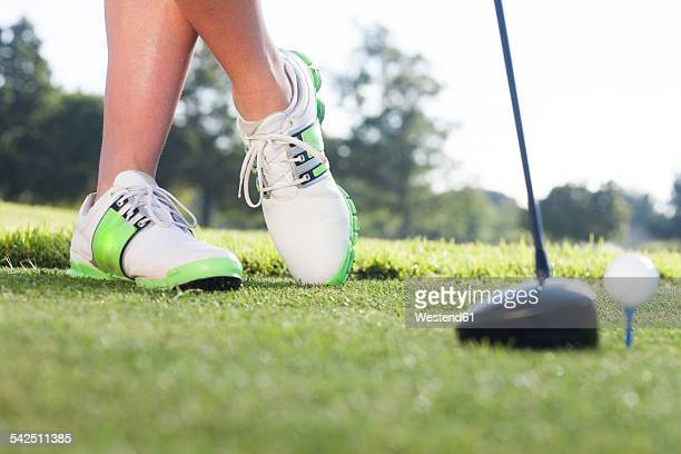 Legs of man on golf court