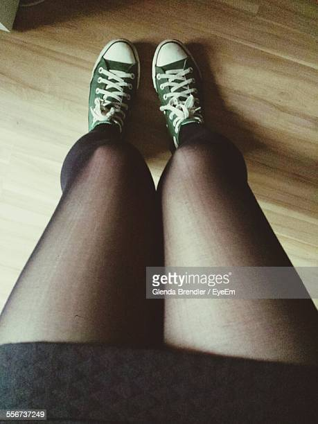 Legs Of Woman Wearing Stockings