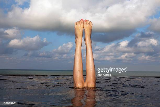 Legs sticking out of infinity pool