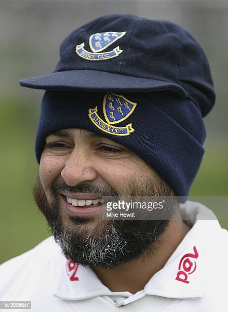 Legspinner Mushtaq Ahmed of Sussex smiles during a Sussex County cricket club photocall at the County ground on April 13 2006 in Hove England