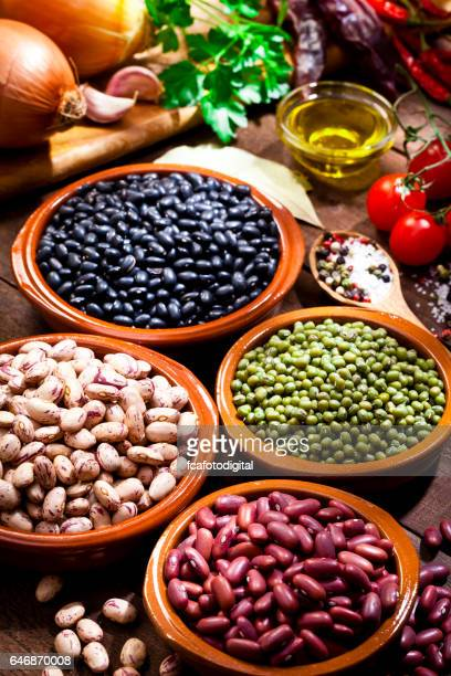 Legumes: Dry beans with cooking ingredients