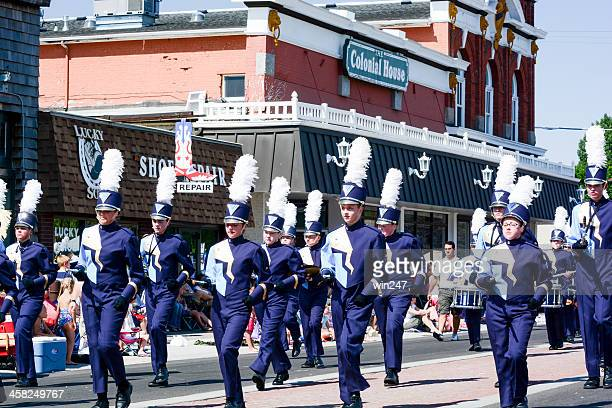 lehi roundup parade: high school marching band - lehi stock photos and pictures