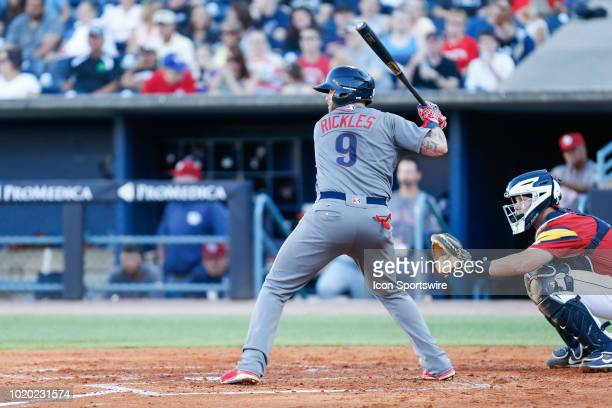 Lehigh Valley IronPigs catcher Nick Rickles at bat during a regular season game between the Lehigh Valley IronPigs and the Toledo Mud Hens on July 19...