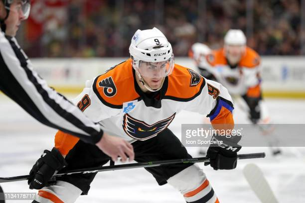 Lehigh Valley Phantoms center Cole Bardreau prepares to take a faceoff during the third period of the American Hockey League game between the Lehigh...