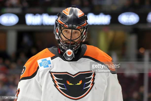 Lehigh Valley Phantoms goalie Mike McKenna on the ice during the second period of the American Hockey League game between the Lehigh Valley Phantoms...