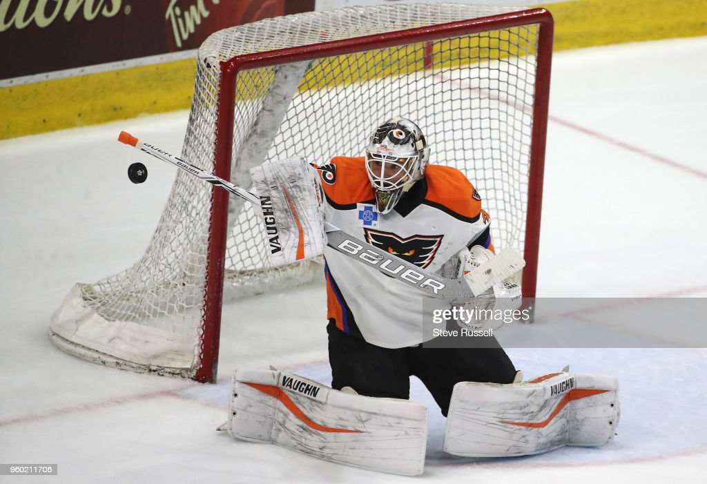 TORONTO, ON- MAY 19 - Lehigh Valley Phantoms goaltender Alex Lyon (34) makes a save as the Toronto Marlies play the Lehigh Valley Phantoms in the first game of the AHL Eastern Conference final at Ricoh Coliseum in Toronto. May 19, 2018.