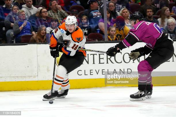 Lehigh Valley Phantoms right wing Nicolas Aube-Kubel is defended by Cleveland Monsters defenceman Ryan Collins during the second period of the...