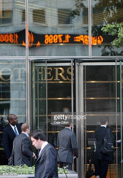 Lehman Brothers' employees arrive at work on September 19, 2008 in London, England. For many employees at the American investment bank, today is...