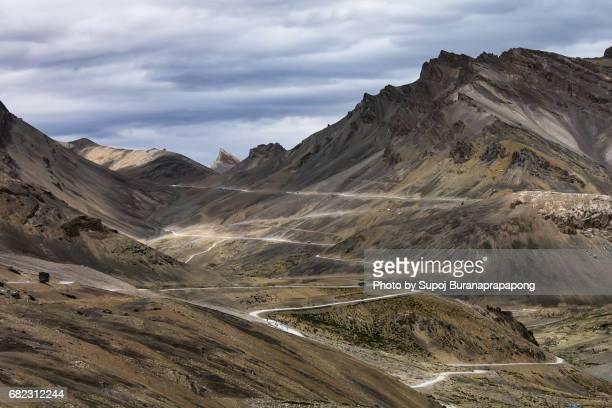 Leh-Manali Highway, a mountain pass road zigzag curve from jispa himachal pradesh to leh ladakh , india