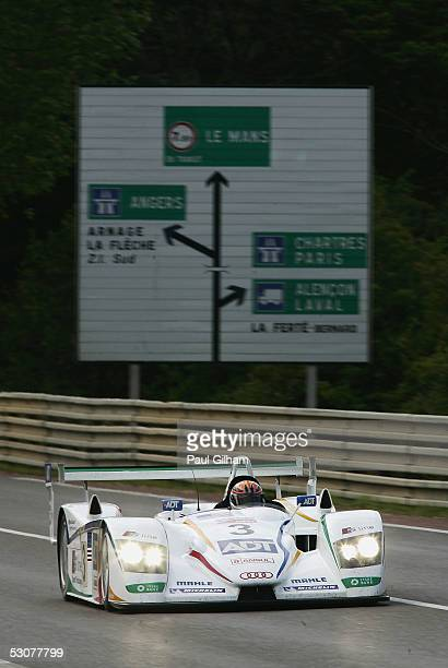 Lehto of Finland and Champion Racing Audi R8 in action during the final qualifying session for the Le Mans 24 Hour Race at the Circuit Des 24 Heures...
