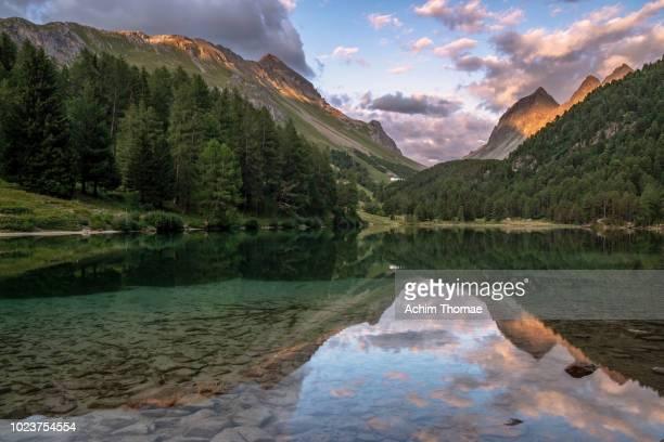 lei de palpuogna, albula pass, canton of graubuenden, switzerland - kanton graubünden stock-fotos und bilder