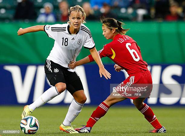 Lei Jiahui of China PR challenges Lena Petermann of Germany at Commonwealth Stadium on August 8 2014 in Edmonton Canada