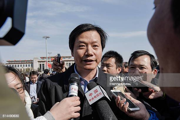 Lei Jun, Chairman and CEO of Xiaomi Technology and Chairman of Kingsoft Corp talks to journalists before the 2nd plenary session of the National...