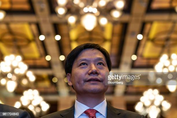 Lei Jun chairman and chief executive officer of Xiaomi Corp attends a news conference in Hong Kong China on Saturday June 23 2018 Xiaomi said it...