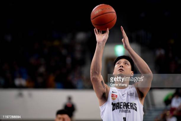 Lei Tien of Formosa Dreamers shooting free throw during the ASEAN Basketball league match between Taipei Fubon Braves and Formosa Dreamers at Taipei...
