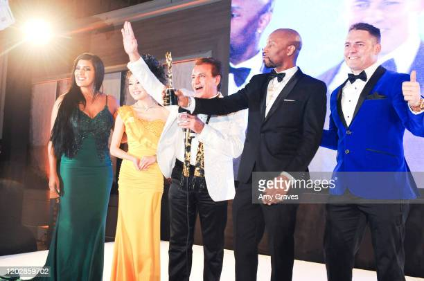 Leia Sergakis Angelina Leo Steven Nia Drumma Boy and Kaya Redford attend the Wardour Studios And Samira's Network Hollywood Stars Oscars Luxury...