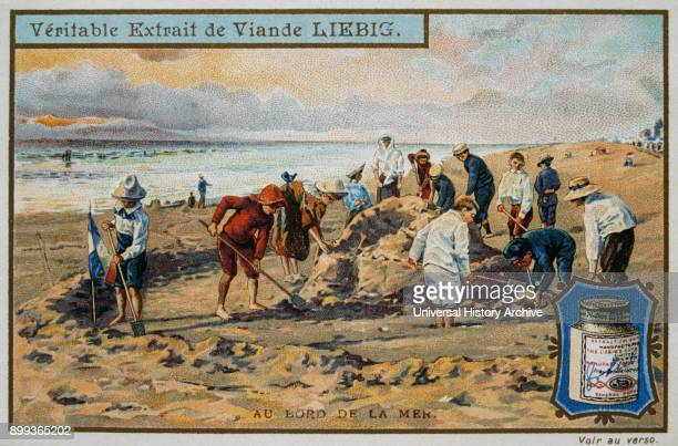 Leibig card depicting French children on the beach 1890