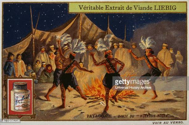 Leibig card depicting Patagonian Indians dancing a tribal dance at night 1900