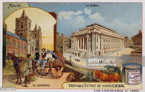 Leibig card depicting the theatre and Cathedral in Valetta in Malta 1900