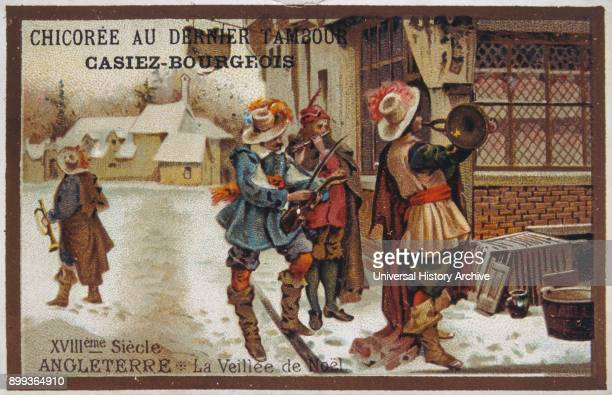 Leibig card showing seventeenth century English street musicians playing at Christmas 1900