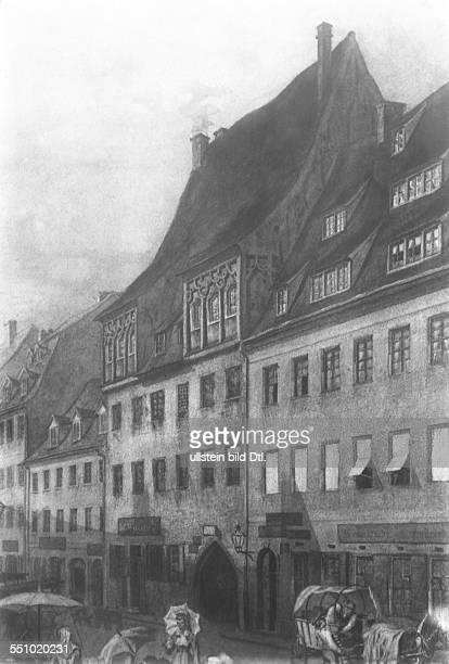 "Leibniz, Gottfried Wilhelm *21.06.1646-14.11.1716+ Mathematics, Philosoph, D - suspected birth place ""Rotes Kolleg"" in Leipzig; after an old..."