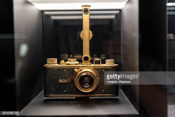 Leica LUXUS I with rangefinder on display at visitors's area of Leica Camera AG complex in Wetzlar Germany 29 October 2014 Leica Camera AG is a...