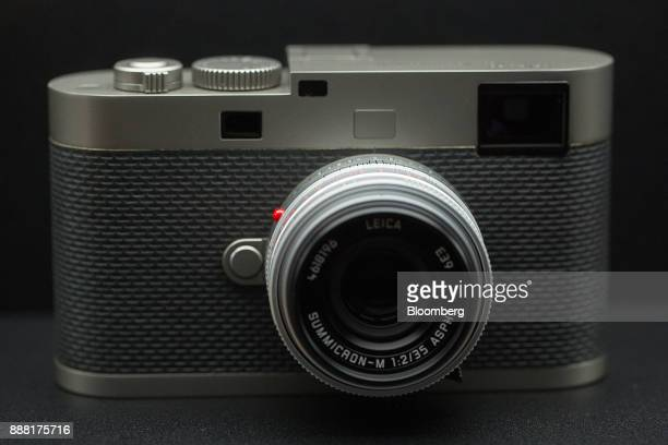 A Leica M digital camera edition Leica 60 fitted with a SummicronM 35 mm f/2 Aspherical lens sits on display in the showroom at the Leica Camera AG...