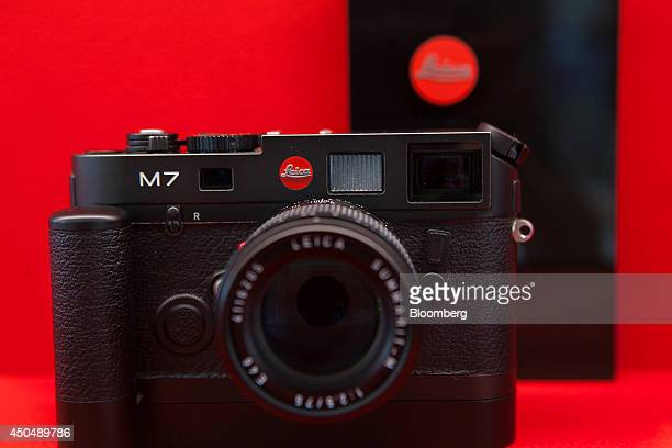 A Leica M7 film camera sits on display inside the Leica Camera AG factory as the company celebrates their 100th anniversary in Wetzlar Germany on...